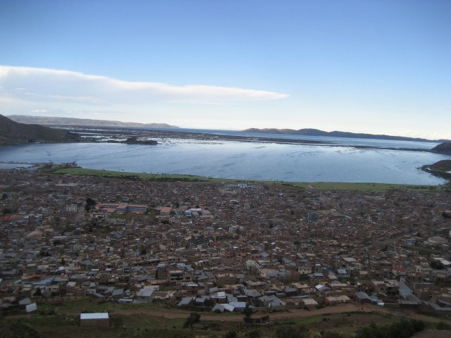 View overlooking Puno to Lake Titicaca