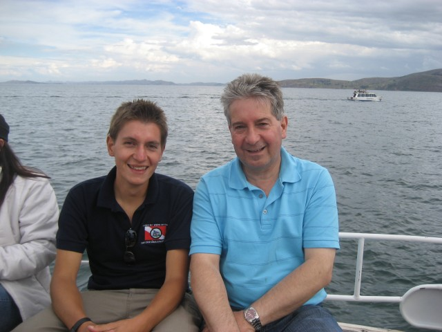 Dad and I on lake Titicaca